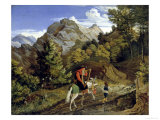 Harpner Returning Home Giclee Print by Ludwig Richter