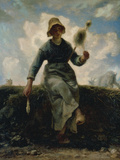 The Spinning Girl Print by Jean-François Millet