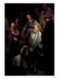 Madonna, Saint Hubert and Saint Nicholas Print by Erasmus Quellinus