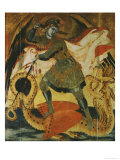 Archangel Michael Fighting the Dragon Giclee Print by Ambrogio Lorenzetti