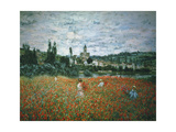 Poppy Field Near Vetheuil Giclee Print by Claude Monet