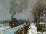 Train in the Snow Reproduction procédé giclée par Claude Monet