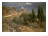 Mountain Castle With Warriors Print by Arnold Bocklin