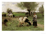 A Well-Guarded Cow Giclee Print by Edouard Debat-Ponsan