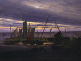 Ships in the Harbour Giclee Print by Caspar David Friedrich