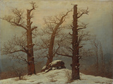 Megalithic Grave in the Snow Reproduction procédé giclée par Caspar David Friedrich