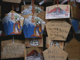Pentagram-Shaped Cards with Drawings of Mt. Fuji Hang From Strings Photographic Print by Karen Kasmauski