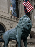 The Bronze Lion in Front of the Chicago Art Institute Photographic Print by Paul Damien