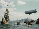 The Mayflower II Enters New York Harbor, Escorted By Small Yachts and a Blimp Photographic Print by B. Anthony Stewart