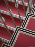 Pink Stairs with Black and White Trim at a Hotel in Nice Fotografisk tryk af David Evans