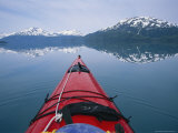Kayak Plies Calm Waters Where Mountains Seem to Meet the Water Photographic Print by Bill Hatcher