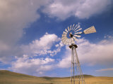 Old Windmill on Ranch Under Blue Sky with Clouds Photographic Print by John Eastcott & Yva Momatiuk