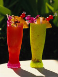 Two Tall Cold Tropical Drinks Garnished with Fruit and Flowers Photographic Print by Richard Nowitz