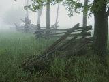 Heavy Fog Hangs Over Split Rail Fences in Early Morning Photographic Print by Stephen St. John