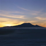Silhouette of Mount Kilimanjaro at Sunset Photographic Print by David Pluth