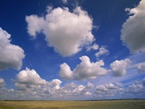 Cumulus Clouds in Blue Sky Over Prairie Photographie par John Eastcott & Yva Momatiuk