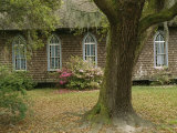 Old Church with Blooming Azaleas, Oak Tree, and Spanish Moss Photographic Print by Raymond Gehman