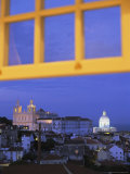 View of Lisbon Through a Window at Twilight Photographic Print by Tino Soriano
