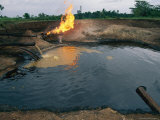 Natural Gas Burning Waste Oil Photographic Print by Steve Winter