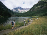 Group of Hikers in Front of the Maroon Bells, in Colorado Photographic Print by Taylor S. Kennedy