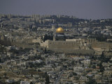 Overview of Jerusalem with the Dome of the Rock and Wailing Wall Photographic Print by Jodi Cobb