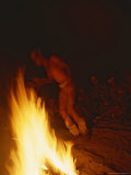 San Bushman Dances Around a Campfire at Night Photographic Print by Joy Tessman