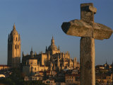 Setting Sun Casts a Warm Glow on a Cathedral in Castile, Spain, Photographic Print