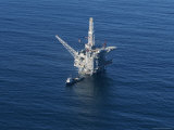 Aerial View of an Oil Rig in the Santa Barbara Channel Photographic Print by Rich Reid