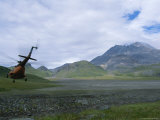 Mi-8 Helicopter Lands Near Bezymianny Volcano, Kamchatka Peninsula Photographic Print by Peter Carsten