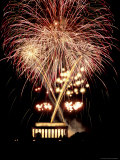 Firework Display Above the Lincoln Memorial Photographic Print by Rex Stucky