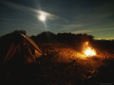 Full Moon Rises Above a Campfire in the Sespe Wilderness Area Photographic Print by Rich Reid