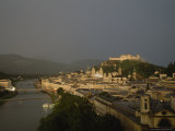 Salzburg, Austria, at Twilight with Rain in the Distance Photographic Print by Taylor S. Kennedy