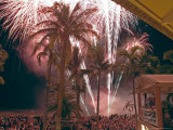 Crowds Watch Fireworks in Celebration of Australia Day, 1/26/04 Photographic Print by Randy Olson