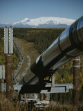 Trans-Alaska Pipeline with Mount Wrangell in the Background Photographic Print by George Herben