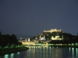 Night View of Salzburg and the Salzach River Photographic Print by Taylor S. Kennedy