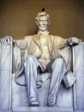 Bird Perches on Abraham Lincoln's Statue Inside the Lincoln Memorial Photographic Print by Rex Stucky