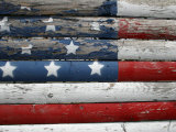 Weathered But Patriotic Detail of an Old Roadside Fence Photographic Print by Stephen St. John