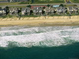 Aerial View of Beachfront Homes and Sand Fences For Erosion Control Photographic Print by Steve Winter