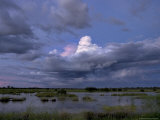 Rain Storm Clouds Brewing over a Swampy Wetland at Twilight Photographic Print by Randy Olson