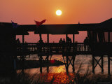 Dinner at a Waterside Restaurant at Sunset Photographic Print by Steve Winter