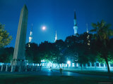 Night View of the Blue Mosque and 1500 Bc Egyptian Obelisk From Luxor Photographic Print by Steve Winter