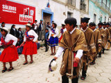 Locals in Traditional Dress in Street Parade Photographic Print by Craig Pershouse