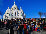 People Outside La Basilique Du Sacre Coeur De Montmartre Photographic Print by Jean-Bernard Carillet