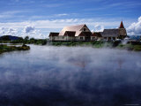 Thermal Steam and St. Faith's Anglican Church, Ohinemutu Near Rotorua Photographic Print by Holger Leue