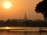 Sunset over the Shwedagon Pagoda Photographic Print by Austin Bush