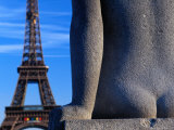 Statue in Front of Eiffel Tower Photographic Print by Jean-Bernard Carillet