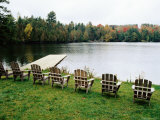 Adirondack Chairs in Row by Lake, Northeast Kingdom Photographic Print by Emily Riddell