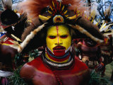 Huli Dancer at a Sing-Sing Photographic Print by Mary Peachin