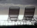 Deck Chairs with Ocean in Background Photographic Print by Linda Ching
