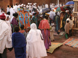 Ethiopian Orthodox Priest Leads Procession Around Church of Bet Maryam During Fasika Photographic Print by Andrew Burke